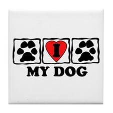 I Love My Dog Tile Coaster