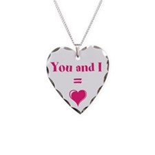 You and I Equal Love Necklace Heart Charm