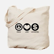 Peace Love Accounting Tote Bag