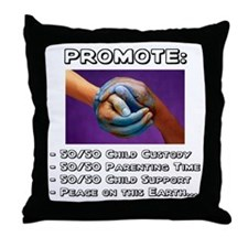 Promote 50/50 World Black Throw Pillow