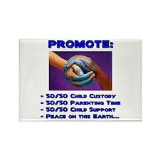 Promote 50/50 World Blue Rectangle Magnet