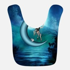 Fairy on a moon over the sea Polyester Baby Bib