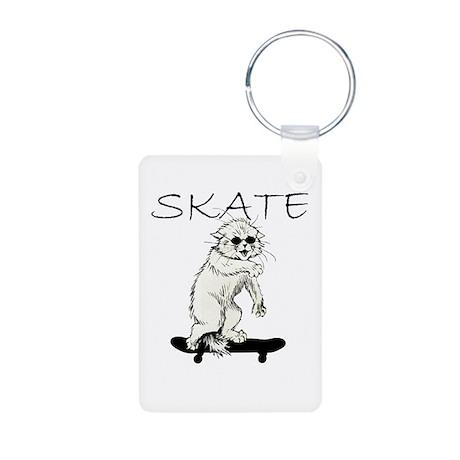 Skate Cat Aluminum Photo Keychain