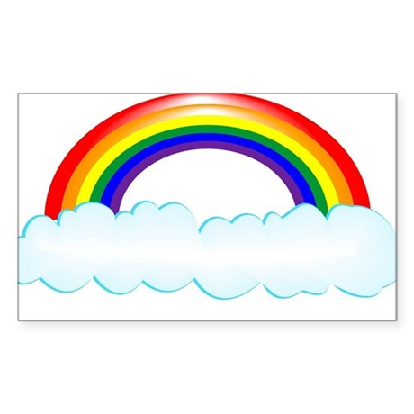 Rainbow with clouds Sticker (Rectangle)