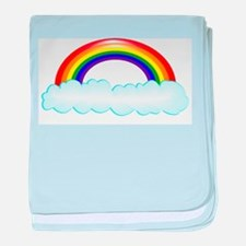 Rainbow with clouds baby blanket
