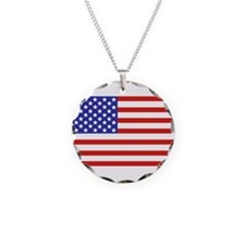 American flag Necklace Circle Charm