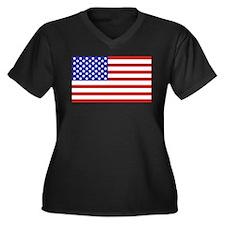American flag Women's Plus Size V-Neck Dark T-Shir