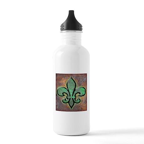 Green Fleur De Lis Stainless Water Bottle 1.0L