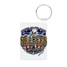 USN Navy Seabees Shield Aluminum Photo Keychain