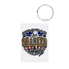USN Navy Seabees Shield Metal Aluminum Photo Keych