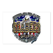 USN Navy Seabees Shield Metal Postcards (Package o