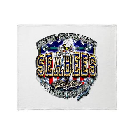 USN Navy Seabees Shield Metal Throw Blanket