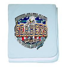 USN Navy Seabees Shield Metal baby blanket