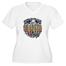 USN Navy Seabees Shield Metal T-Shirt