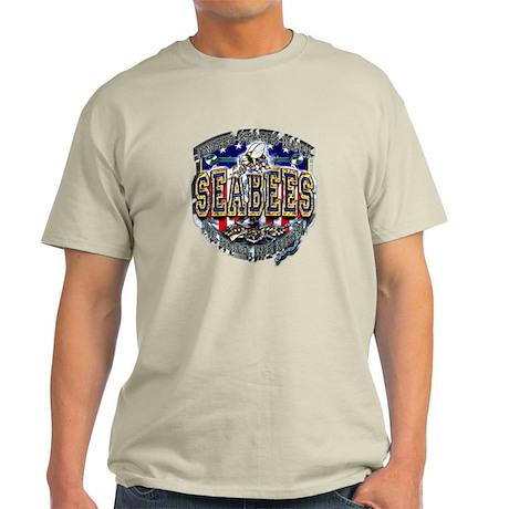 USN Navy Seabees Shield Metal Light T-Shirt