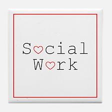Social Work Hearts Tile Coaster