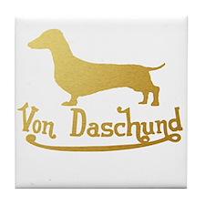 Von Daschund Gold Tile Coaster