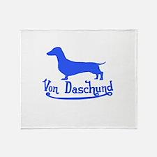 Von Daschund Blue Throw Blanket