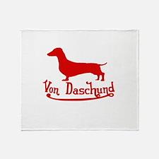 Von Daschund Red Throw Blanket