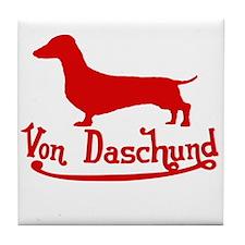 Von Daschund Red Tile Coaster