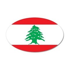 Flag of Lebanon 22x14 Oval Wall Peel