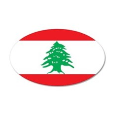 Flag of Lebanon 38.5 x 24.5 Oval Wall Peel