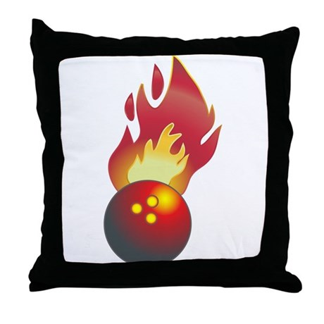 Flaming Bowling Ball Throw Pillow