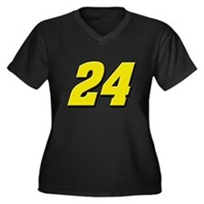 JG24 Women's Plus Size V-Neck Dark T-Shirt