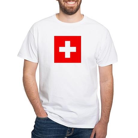 Flag of Switzerland White T-Shirt