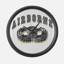 US Army Airborne Wings Silver Large Wall Clock