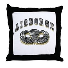 US Army Airborne Wings Silver Throw Pillow