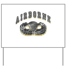 US Army Airborne Wings Silver Yard Sign