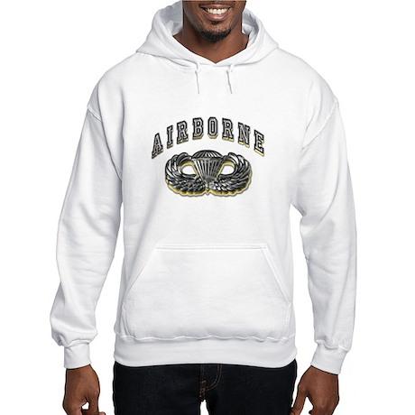 US Army Airborne Wings Silver Hooded Sweatshirt