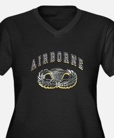 US Army Airborne Wings Silver Women's Plus Size V-