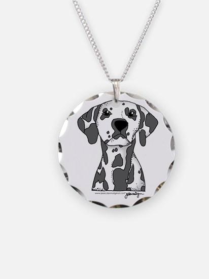 Unique Dalmatian Necklace Circle Charm
