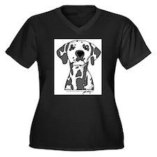 Unique Dalmatian Women's Plus Size V-Neck Dark T-Shirt