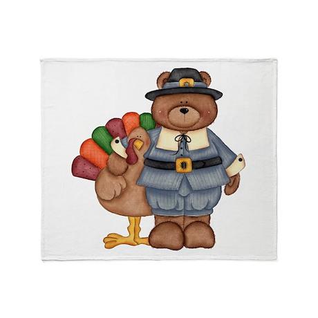 Thanksgiving Bear Throw Blanket