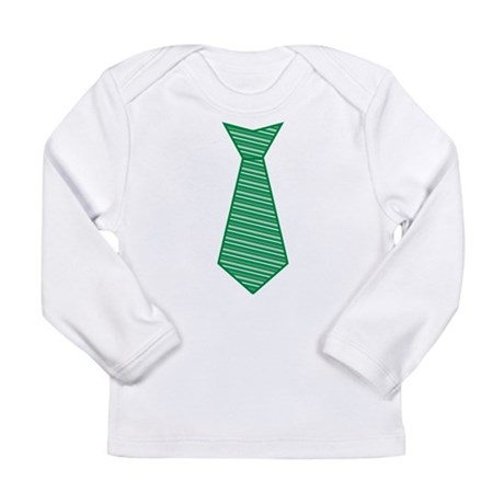 Green Striped Tie Shirt Long Sleeve Infant T-Shirt