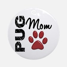 Pug Mom 2 Ornament (Round)