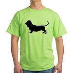 Basset Hound Silhouette Green T-Shirt