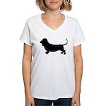 Basset Hound Silhouette Women's V-Neck T-Shirt