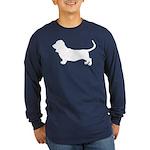 Basset Hound Silhouette Long Sleeve Dark T-Shirt
