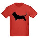 Basset Hound Silhouette Kids Dark T-Shirt