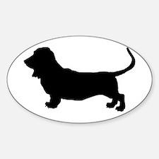 Basset Hound Silhouette Sticker (Oval)