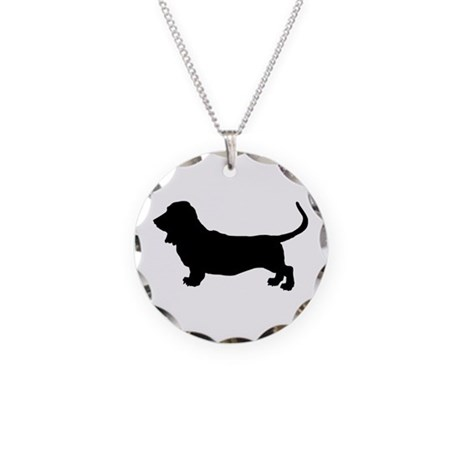 Basset Hound Silhouette Necklace Circle Charm