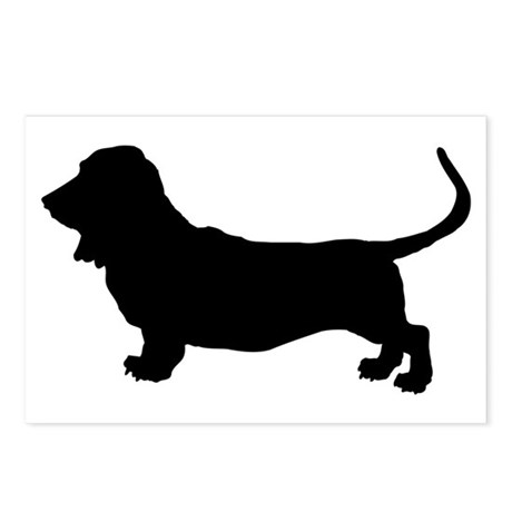 Basset Hound Silhouette Postcards (Package of 8)