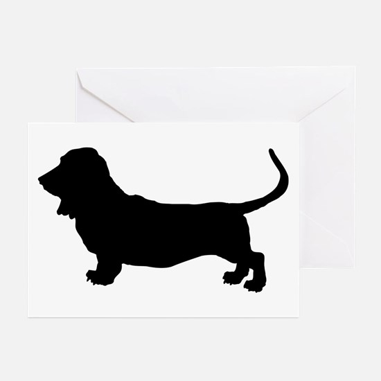 Basset Hound Silhouette Greeting Cards (Pk of 10)