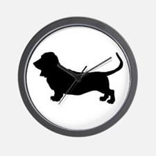 Basset Hound Silhouette Wall Clock