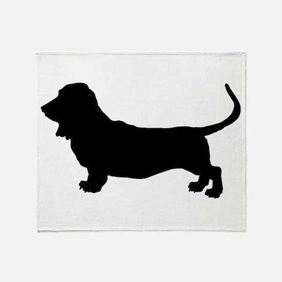 Basset Hound Silhouette Throw Blanket