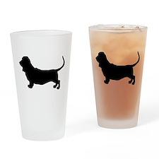 Basset Hound Silhouette Drinking Glass